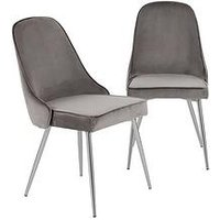 Product photograph showing Pair Of Ivy Velvet Dining Chairs - Charcoal