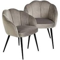 Product photograph showing Michelle Keegan Home Pair Of Angel Scallop Dining Chairs - Grey Velvet
