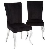 Product photograph showing Pair Of Grace Velvet Dining Chairs - Black Chrome