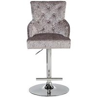 Product photograph showing Warwick Bar Stool - Silver Crushed Velvet