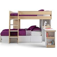 Product photograph showing Julian Bowen Eclipse Bunk Bed - Scandinavian Oak White