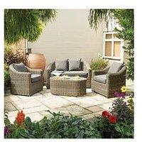 Product photograph showing Rowlinson Bunbury Sofa Set Natural Weave