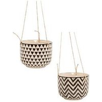 Product photograph showing Sass Belle Set 2 Geo Hanging Planters