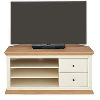 Product photograph showing New Burford Corner Tv Unit - Fits Up To 52 Inch Tv - Cream Oak Effect
