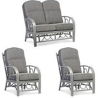 Product photograph showing Desser Grey Bali Conservatory Suite Sofa Amp Two Chairs