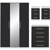 Product photograph showing Messina Gloss Package 2 3 Door Wardrobe 5 Drawer Chest 2 X 3 Drawer Bedside Chest