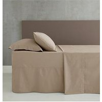 Product photograph showing Catherine Lansfield Easy Iron Percale Extra Deep Fitted Sheet - Natural