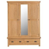 Product photograph showing K-interiors Alana 3 Door 2 Drawer Mirrored Wardrobe