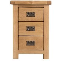 Product photograph showing K-interiors Alana Ready Assembled 3 Drawer Bedside Chest