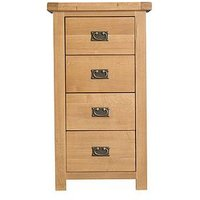Product photograph showing K-interiors Alana Ready Assembled 4 Drawer Narrow Chest