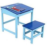 Product photograph showing Premier Housewares Kids Desk And Stool Set- Blue