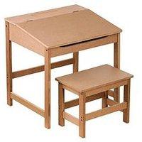 Product photograph showing Premier Housewares Kids Desk And Stool Set- Natural