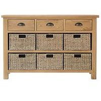 Product photograph showing K-interiors Shelton Ready Assembled 3 Drawer 6 Basket Sideboard