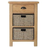 Product photograph showing K-interiors Shelton Ready Assembled 1 Drawer 2 Basket Sideboard