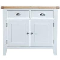 Product photograph showing K-interiors Harrow Ready Assembled 2 Drawer 2 Door Sideboard - White Oak