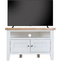 Product photograph showing K-interiors Harrow Ready Assembled Corner Tv Unit - Fits Up To 45 Inch Tv - White Oak