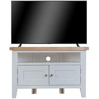 Product photograph showing K-interiors Harrow Ready Assembled Corner Tv Unit - Fits Up To 45 Inch Tv - Grey Oak