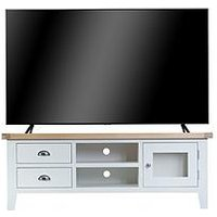 Product photograph showing K-interiors Harrow Ready Assembled Large Tv Unit - Fits Up To 70 Inch Tv - White Oak