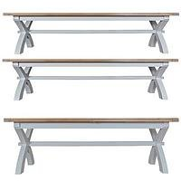 Product photograph showing K-interiors Harrow 250-300 Cm Extending Dining Table 2 Benches - Grey Oak