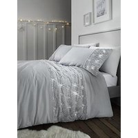 Product photograph showing Catherine Lansfield Snowflake Fleece Panel Duvet Cover Set