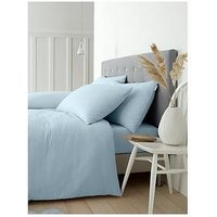 Product photograph showing Catherine Lansfield Soft N Cosy Brushed Cotton Double Duvet Cover Set - Blue