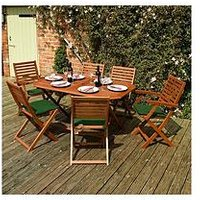 Product photograph showing Rowlinson Plumley 6 Seater Dining Set - Green