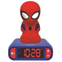 Product photograph showing Lexibook Spiderman Night Light Alarm Clock