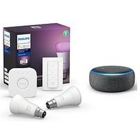 Product photograph showing Philips Hue Bt - White And Colour Ambiance 2 Set Bridge Dimmer Kit And Amazon Echo Dot 3rd Gen - E27 2set Bridge Dimmer