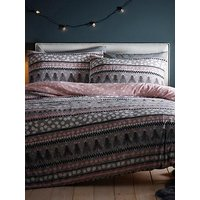 Product photograph showing Silentnight Nordic Stripe Fleece Duvet Cover Set