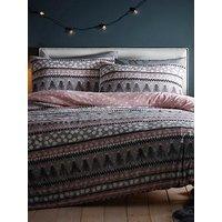 Product photograph showing Silentnight Nordic Stripe Fleece Duvet Cover Set