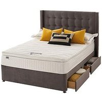 Product photograph showing Silentnight Isla Velvet 1000 Pocket Pillowtop Divan Bed With Headboard And Storage Options