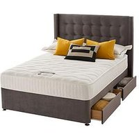 Product photograph showing Silentnight Isla Velvet 1000 Memory Divan Bed With Headboard And Storage Options