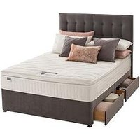 Product photograph showing Silentnight Mila Velvet 1000 Pocket Pillowtop Divan Bed With Headboard And Storage Options