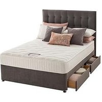 Product photograph showing Silentnight Mila Velvet 1000 Pocket Memory Divan Bed With Headboard And Storage Options