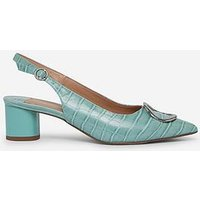 Dorothy Perkins Wide Fit Emily Sling Metal Shoe - Green
