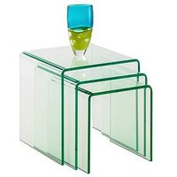 Product photograph showing Julian Bowen Amalfi Bent Glass Nest Of 3 Tables