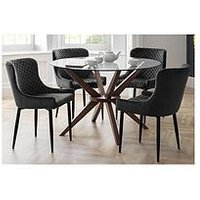 Product photograph showing Julian Bowen Set Of Chelsea 120 Cm Round Glass Top Dining Table 4 Luxe Grey Chairs