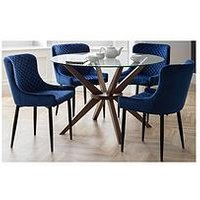 Product photograph showing Julian Bowen Chelsea 120 Cm Round Dining Table 4 Luxe Blue Chairs