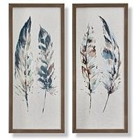 Product photograph showing Graham Brown Set Of 2 Painterly Feathers Framed Canvas
