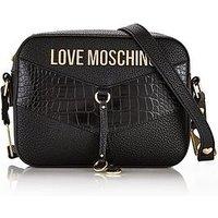 Love Moschino Mixed Texture Cross-Body Camera Bag - Black