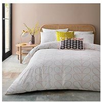 Product photograph showing Orla Kiely House Linear Stem Duvet Cover - Pink
