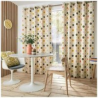 Product photograph showing Orla Kiely Spot Flower Summer Lined Eyelet Curtains