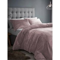 Product photograph showing Silentnight Super Soft Velvet Touch Fleece Double Duvet Cover Set