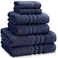 Product photograph showing Catherine Lansfield Zero Twist 6-piece Towel Bale - Navy