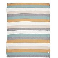 Product photograph showing Mamas Papas Knitted Blanket - Multi Stripe Blue