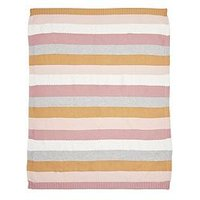 Product photograph showing Mamas Papas Knitted Blanket - Multi Stripe Pink