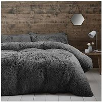 Product photograph showing Catherine Lansfield Cuddly Faux Fur Double Duvet Cover Set