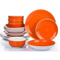 Product photograph showing Waterside 16 Piece Orange Flame Spin Wash Dinner Set