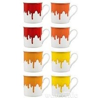 Product photograph showing Waterside Set Of 8 Paint Drip Mugs