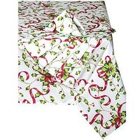 Product photograph showing Waterside 9 Piece Holly Christmas Table Linen Set